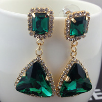 2014 popular jewelry accessories Earrings green crystal gems sexy fashion star gold  drop earrings for women