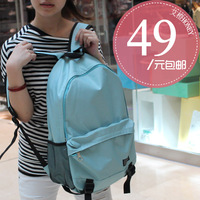 Bag brief backpack preppy style solid color backpack school bag