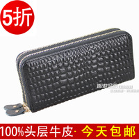 free shipping, 2013 good quality genuine leather purse women double zipper  long design fashion  womens wallet