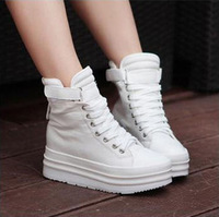 Elevator canvas shoes 2013 thickening high platform wedges lacing platform casual female shoes