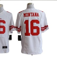 Free shipping American football ELITE  San Francisco #16 MONTANA 16 white away road cheap Jersey jerseys gift SJR