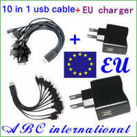 Free shipping 10sets/lot multi charger 10 in 1 universal USB Charging Cable usb line.charger line+USB wall Charger(EU/UK/US)