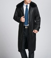 Free shipping !!! Hot Men Slim leather coat the longer section leather coat lining velvet casual jacket / Casual lapel coat