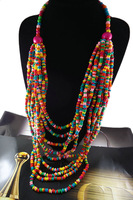 New Arrival Exaggerated long colorful wooden beads bohemian bib collar women Statement Necklace jewelry SMSN0002