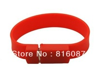 Free Shipping by Post 1pc/lot HOT sale Red wristband or bracelet USB flash memory 4GB 8GB with high quality and full capacity