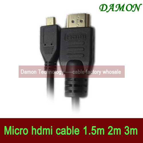 500pcs/lot 1.5M micro hdmi cable A Type to D type Sony mobile phone hdmi cable for cell phone free shipping(China (Mainland))