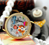 2013 Lovely Crown cat, Japan South Korea Style min Handmade polymer clay watches Luxury fashion Brown watches