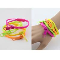Korea Fashion Girls Bracelet exaggerated neon color zipper multi-layer vintage fashion ladies wristband bracelet accessories