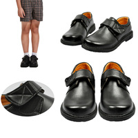 Male child black leather flower children  formal dress boys  casual  child performance shoes