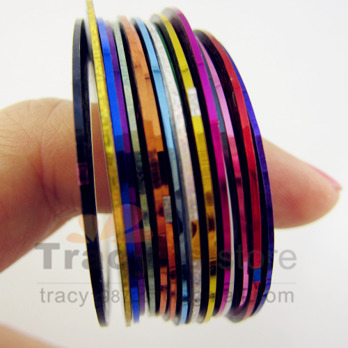 FreeShipping 18 Color Nail Art Metallic Yarn Mixed Glue Adhesive Stick Strip Rolls Striping Tape Line Decoration Sticker Decal(China (Mainland))