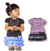 Free Shipping!2013 hot sell baby pure cotton dress cute girl bowknot Layered dress summer kid wear