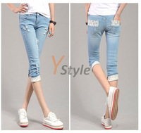 Free Shipping Hottest Summer Cropped Jeans Sweet Ladies Korean Style Denim Jeans Ripped Hole with Lace 2PCS YS-Linggan-1868-1