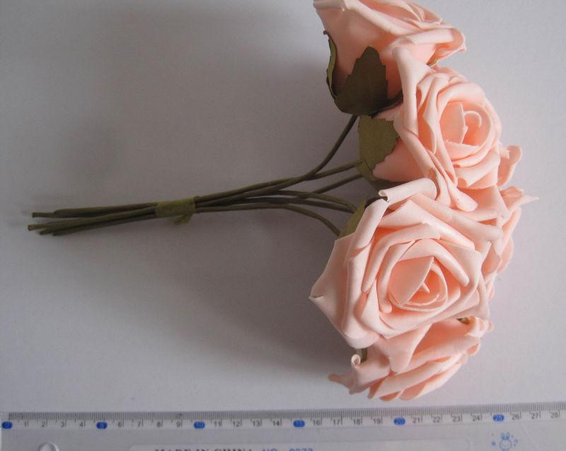 6.5cm eva cor rosa rosa bouquet/fio haste/flor do casamento frete grátis( 72pcs/lote) 4.2(China (Mainland))