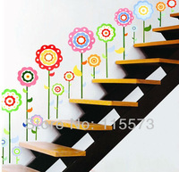 free shipping wholesale The colorful sun flower wall stickers 33*68cm