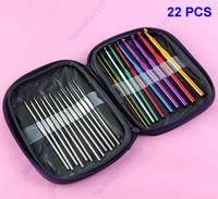 Free Shipping 1Set 22Pcs Multi-color Aluminum Crochet Hooks Knitting Needles Weave Craft With Case