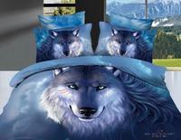 Hot Beautiful 100% Cotton 4pc Doona Duvet QUILT Cover Set bedding set Full / Queen/ King size 4pcs animal blue wolf