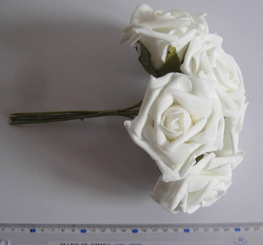 6,5 centímetros cor marfim EVA Rosa Flor flor caule / casamento Bouquet / fio Frete grátis (72pcs/Lot) 4,2(China (Mainland))