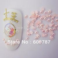 Free Shipping 10000pcs/lot 2mm half round flatback pink Resin Pearl Nail Art Decoration