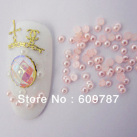 Free Shipping 10000pcs/lot  2mm pink Resin Pearl Nail Art Decoration