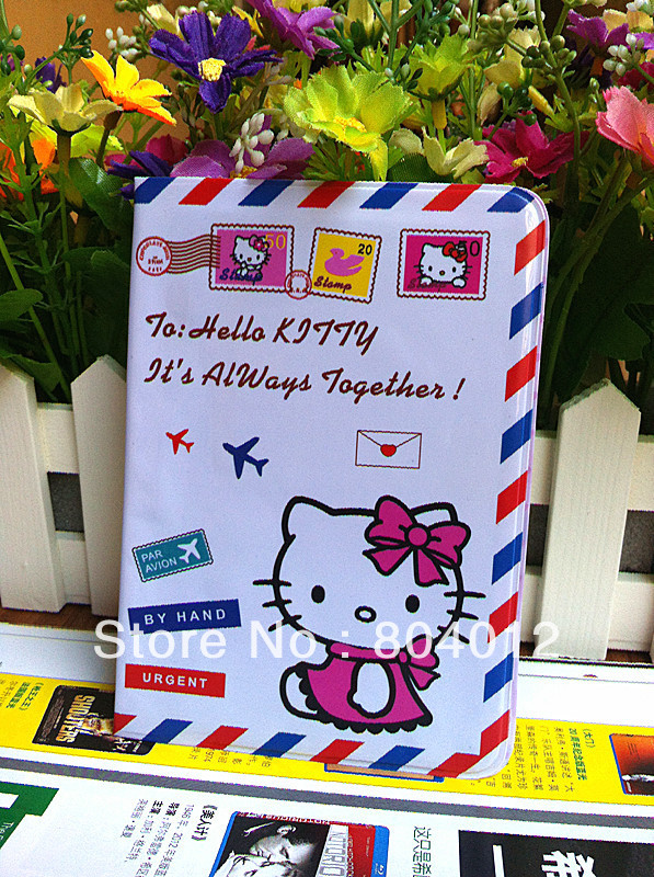 Free Shipping~10PCS Hello Kitty Travel PASSPORT HOLDER Documents folder Organizer Wallet Purse Card &amp; ID holder Case(China (Mainland))