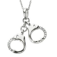 free shipping 5pcs a lot rhodium plated handcuff with crystal pendant necklaces