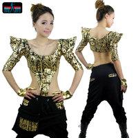 Bronzier hiphop jazz top female hip-hop hiphop ds lead dancer clothing costume  ,Free Size