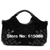 Genuine leather knitted women's scrub suede handbag,Women fashion Tote Shoulder Bags free shipping