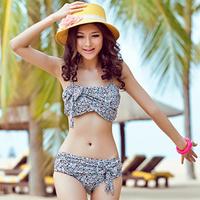 new hot 2013 hot springs flower bikini two piece female bow swimwear swimsuit