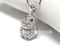 free shipping 5pcs lovely silver plating Crystal hippo shape pendant necklaces