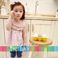5pcs/lot Girl Dress Wholesale Baby Child Bow Design Clothes Summer Cute Little Girl Polka Dot Dresses,Free Shipping K0514