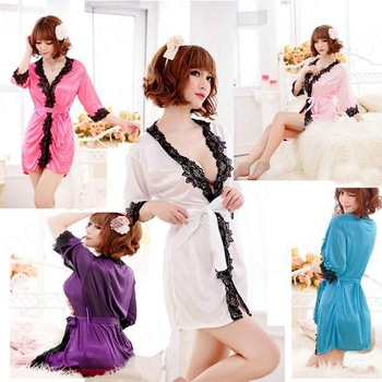 Sexy Satin Lace Long Sleeve Lingerie Dress Costume Baby Doll Pajamas Free Shipping robe women sleep wear kimono NY114-NY118