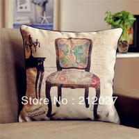 Free Shipping French Country Retro Vintage Chair Cotton Linen Decoratvie Cushion Cover Pillow Cover 45CM X45CM