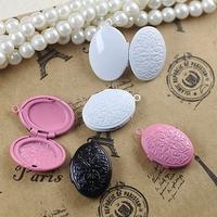 16*20*6mm mix pink/white/black painted color oval unique locket, filigree locket, floating charm lockets