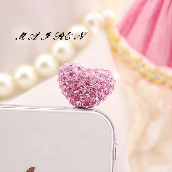 MINI ORDER USD10 (mixed) Free shipping rhinestone heart dust plug for IPHONE SAMSUNG NOKIA HTC(China (Mainland))
