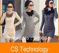 [S-107] free shipping women's long sleeve round-neck Grinding wool cotton long t shirt dress, casual dresses