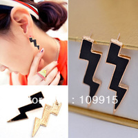 Women Vintage lightning shaped Enamel bright retro temperament Earrings Stud LKE0167J Free Shipping