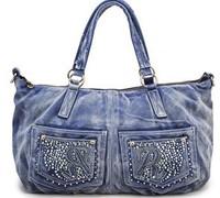 Free shipping-2014 new arrival women's denim brand handbag,Drills fashionable female handbags