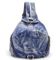 Free shipping-2014 new arrival women's denim college agitation hot drill  brand bag