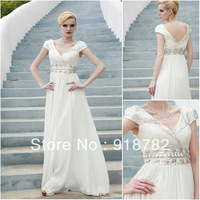 2013 New Arrival Formal Fashion Short Sleeve Crystal Paillette Women Evening Dress Long