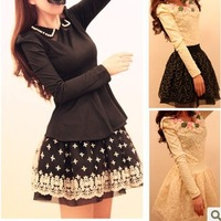 new fashion princess wind flower embroidery fluffy short lace skirts bust skirts WYL804LQ  free shipping
