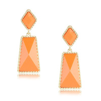 New Unique Design Gold Plated 6Colors Orange Pink Blue White Black Yellow Statement Resin Geomeric Earrings for Women