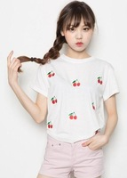 New arrival 2013 vintage vivi4 ice cream small cherry mossbean short-sleeve T-shirt