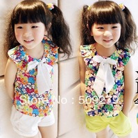 High quality baby girls 2013 summer fashion Colorful flowers t shirt wholesale kids chiffon blouses shirts with bow CQ-6140