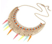 Min.order is $10 (mix order) High quality ! fashion Europe elegant spike Half moon necklace wholesale !  Free shipping N1099