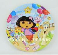 60PCS cartoon 9 inch Dora children's birthday party supplies disposable cake plate/fruit plate/paper plate/food plate &6