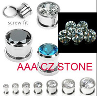 stainless steel press fit large AAA cubic zirconia stone screw on flesh tunel cz ear plug ear gauges free shippoing