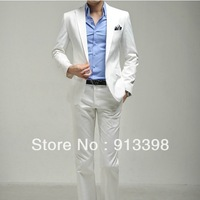 Men's clothing slim suit white wedding suits white suit dress set suit male free shipping