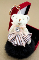 Winter cute fur ball bear car keychain rabbit fur key chain