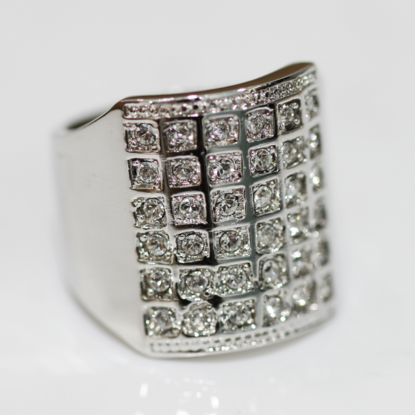 Wholesale free shipping/attractive men 18 k white gold/CZ diamond ring/R082 fashion jewelry(China (Mainland))