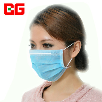 Blue disposable dust proof 3 layers non-woven mask 50 pieces/box